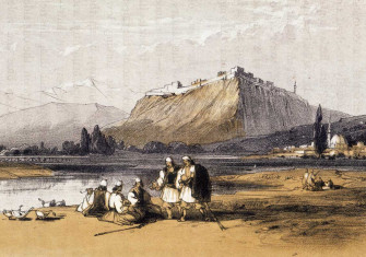 view of Skodra, Albania by Edward Lear from Journals of a Landscape Painter in Albania, 1851.