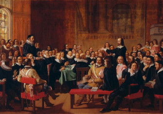 The Westminster Assembly, which met from 1643-49, in a Victorian history painting by John Rogers Herbert