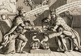 George III and Charles III of Spain 'negotiate' over the Falkland Islands. English engraving, 1770.