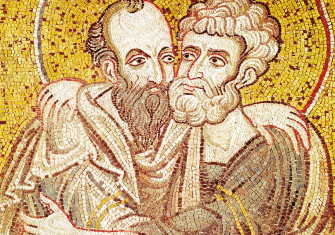 Peter and Paul embracing, Byzantine mosaic, 12th century.
