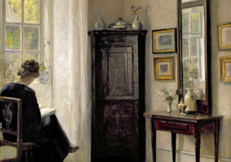 Interior with Woman Reading, by Carl Holsøe, Danish, early 20th century.