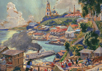 A Port on the Volga,  by Boris Mikhaylovich Kustodiev, 1920.