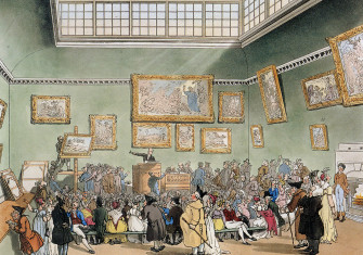 Christie's Auction Rooms, from 'The Microcosm of London', published by Rudolph Ackermann, 1808.
