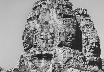 View of one of the towers of the Temple of Bayon, Angkor Thom, Cambodia, 12th century.