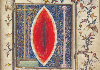 The body beautiful: the Wound  of Christ, from the Prayer Book of Bonne de Luxembourg, attributed to Jean Le Noir, French, c.1345 © akg-images