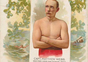 Captain Matthew Webb, Swam From Dover, England to Calais, France, from World's Champions, Second Series (N43) for Allen & Ginter Cigarettes,1888. Metropolitan Museum of Art.