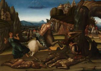 Saint George and the Dragon, Luca Signorelli (workshop of), 1495-1505. Rijksmuseum.