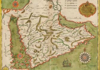 Map of Arabian Peninsula, 1732, from Kitab-ı cihannüma [Constantinople], 1732, by Kâtip Çelebi (1609-1657). In Ottoman Turkish (Arabic script), printed by İbrahim Müteferrika. Typ 794.34.475 Houghton Library/Wiki Commons.