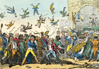 Shuttlecocks and Mackerel, or Members Going to Vote on the Corn Bill, 14 March 1815, by George Cruikshank © Bridgeman Images.