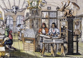 Interior of a Dutch printing office, Abraham von Werdt, coloured woodcut, 17th century. Bridgeman Images.