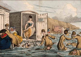 Women bathing in Brighton, engraving by William Heath, 19th century. Courtesy Wellcome Images.