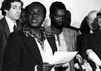 Robert Mugabe, future president of Zimbabwe, pushes his claim for the leadership of ZANU in October 1976. Horst Faas / Press Association Images