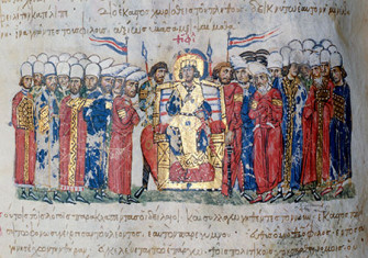 Theophilus makes a proclamation, the Scylitzes Chronicle, 11th century.