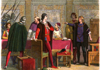 Richard, acting as Lord Protector, orders the arrest of William Hastings, 1st Baron Hastings. From 'A Chronicle of England: B.C. 55 – A.D. 1485', c. 1864. Wiki Commons.