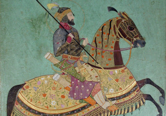 Aurangzeb on horseback.