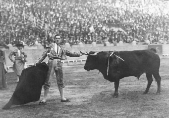 Matador Manuel Granero with the bull, Pocapena, in Madrid, 7 May 1922. Granero would die as a result of being gored during this fight. Photograph by Ernest Hemingway © Ullstein Bild/Getty Images.