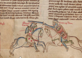 Battle of Assandun, showing Edmund Ironside (left) and Cnut the Great. (Matthew Paris, Chronica Majora, Cambridge, Corpus Christi College MS. 26, fol. 80v)