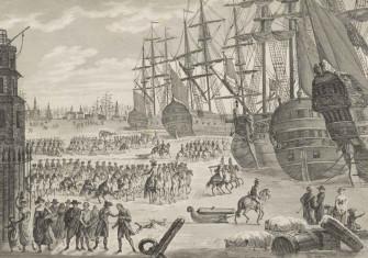 Conquest of the frozen Dutch war fleet in Den Helder, 1795, Pauquet, after Robineau, 1795 - 1796. Rijksmuseum.
