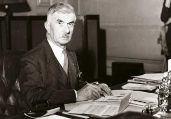 Home Secretary James Chuter Ede at his desk, c.1950 © Hulton Getty Images.