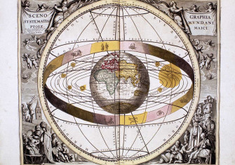 The Ptolemaic system of the universe from the Harmonia Macrocosmica, by Andreas Cellarius, 1708 © Bridgeman Images
