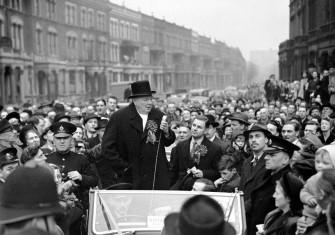 Winston Churchill speaking in London, 23 February 1949.