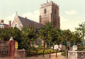 the Parish Church of St Mary and  St Eanswythe, Folkestone, c.1890 Courtesy Library of Congress, Washington DC/Wikimedia/Creative Commons.