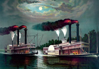 Race of the Steamboats: Robert E. Lee (nicknamed the 'Monarch of the Mississippi') and Natchez, chromolithograph, 1870 © Getty Images