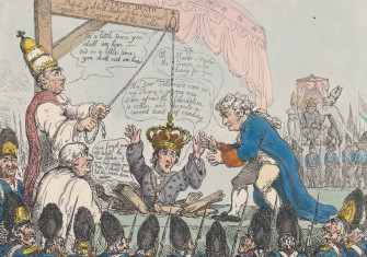 A satire on the coronation of Napoleon: 'The Imperial Coronation', Thomas Rowlandson, 1804. Metropolitan Museum of Art.