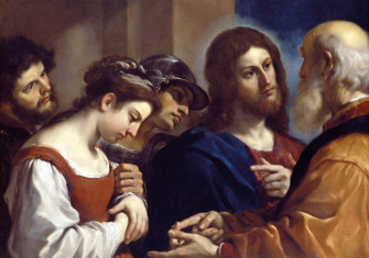 Christ and the Woman taken in Adultery, by Guercino (Giovanni Francesco Barbieri), c.1621. Dulwich Picture Gallery/Wikimedia/Creative Commons.