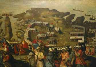 The siege of Malta—'Arrival of the Turkish fleet' (Matteo Perez d' Aleccio)