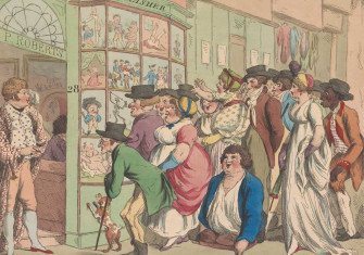 Crowd in front of the Piercy Roberts window in London Caricature Shop, 1801. Rijksmuseum.