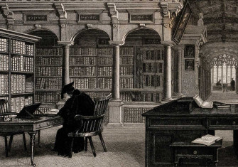 Bodleian Library, Oxford: Duke Humfrey's library with a man studying (detail). Frederick Mackenzie, 1787. Wellcome Collection.