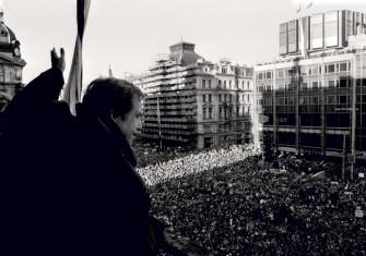 Václav Havel addresses a pro-democracy rally in Wenceslas Square, Prague, 12 December 1989 © Sovfoto/UIG/Getty Images.