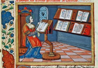 A woman illuminating the 'Book of the Prudent and Imprudent', by Catherine d'Amboise, 1507 © Leonard de Selva/Bridgeman Images.