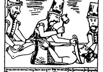 Spaniards executing Túpac Amaru, the last Inca of Vilcabamba, in 1572