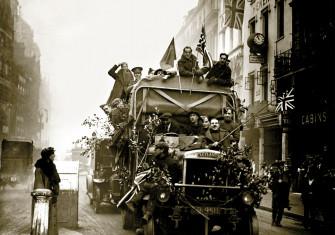 Armistice celebrations  in London, 11 November 1918.