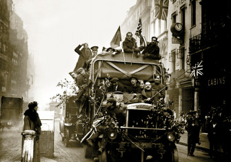 Armistice celebrations  in London, 11 November 1918.