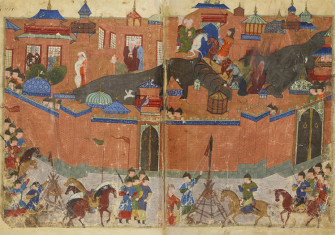 Hulagu's army conducting a siege on Baghdad walls. Tapestry circa 1430.
