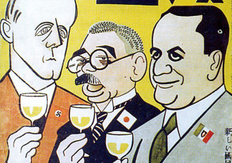 The cover of Manga, October 1940. Axis foreign ministers Ribbentrop, Matsuoka and Ciano toast their pact against the Allies.