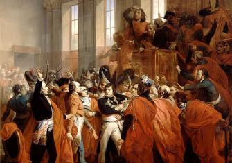 General Bonaparte during the coup d'état of 18 Brumaire in Saint-Cloud, painting by François Bouchot, 1840
