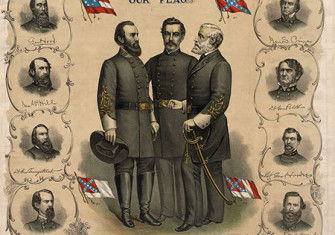 Three versions of the flag of the Confederate States of America and the Confederate Battle Flag are shown on this printed poster from 1896. Standing at the center are Stonewall Jackson, P. G. T. Beauregard, and Robert E. Lee,