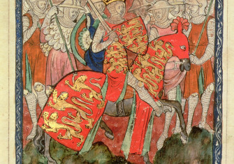 Redeemed: William the Conqueror riding with his soldiers, English, c.14th century.