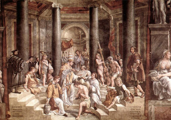 The Baptism of Constantine painted by Raphael's pupils (1520–1524, fresco, Vatican City, Apostolic Palace)