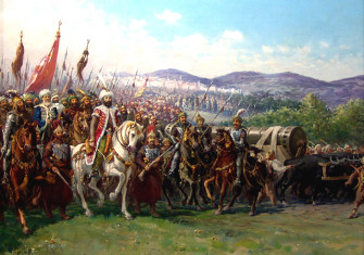 Modern painting of Mehmed II and the Ottoman Army approaching Constantinople with a giant bombard, by Fausto Zonaro