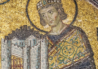 Mosaic from Hagia Sofia depicting Constantine I with a representation of the city of Constantinople