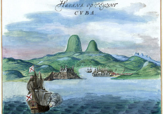 A watercolor painting of Havana Bay, c. 1639. By Johannes Vingboons.