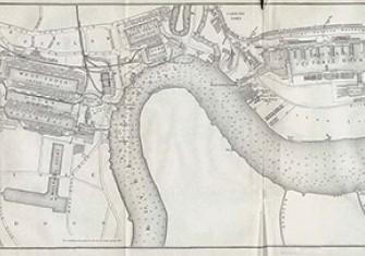 The London docks in 1882.