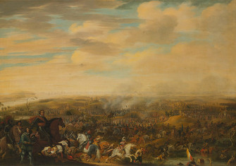Prince Maurice at the Battle of Nieuwpoort by Pauwels van Hillegaert. Oil on canvas.