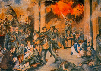 'Birth of the Irish Republic' by Walter Paget, depicting the GPO during the shelling