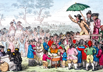 Election Fair, Copenhagen Fields, London, 1795, featuring Thelwall, mid-oratory, at front right, by James Gillray.